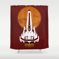 battlestar Shower Curtains featuring Battlestar Galactica Viper MK II by jake