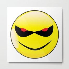 Evil Smile Face Button Emoticon Metal Print