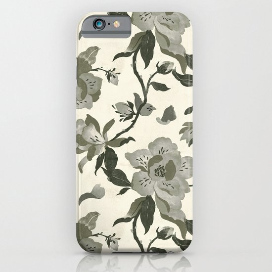 Black Magnolia Pattern iPhone & iPod Case