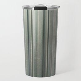 Corrugated iron of aluminum on a facade. Background image. Travel Mug
