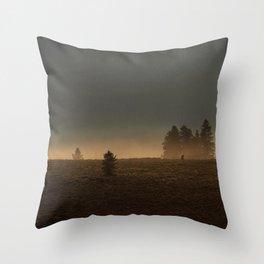 Misty Mountain Morning  // Golden Fog on the Pine Throw Pillow