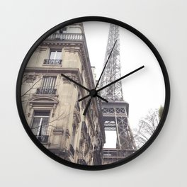 Paris streets, Eiffel tower, city skyline, industrial fine art photo, shabby chic Wall Clock