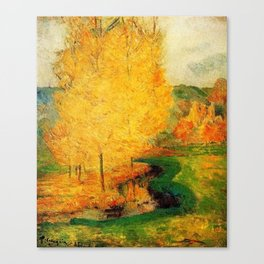 Classical Masterpiece 'By the Stream - Autumn' by Paul Gauguin Canvas Print