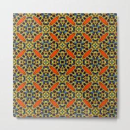 Beautifu Blue and Orange Geometric Beadwork Print Metal Print