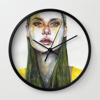 yellow Wall Clocks featuring yellow lemongrass by agnes-cecile
