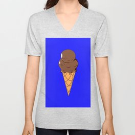 A Chocolate Ice Cream Cone with Blue Background, Summer Fun Unisex V-Neck