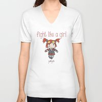 borderlands V-neck T-shirts featuring Fight Like a Girl - Borderlands 2 ~ Gaige by ~ isa ~