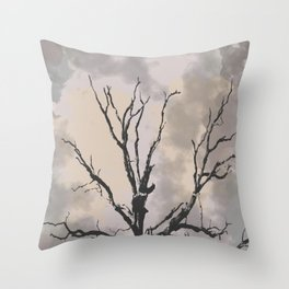 Stormy Skies, Abstract Art Tree Storm Clouds Throw Pillow