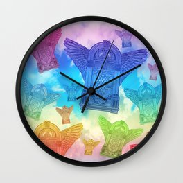 Vintage Flying Jukebox Rainbow Wall Clock