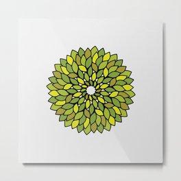 Green Leaf Mandala Metal Print