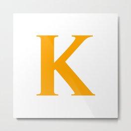 K MONOGRAM (ORANGE & WHITE) Metal Print