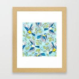 Flying Birds and Oak Leaves Framed Art Print