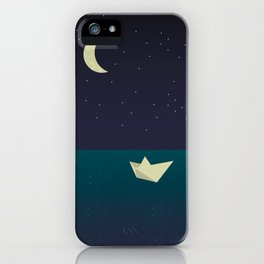 paper boat in the moonlight iPhone Case