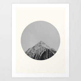 Mid Century Modern Round Circle Photo Grey Minimalist Monochrome Snow Mountain Peak Art Print