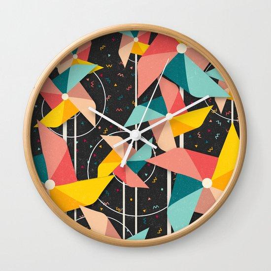 Colourful Pinwheels Wall Clock