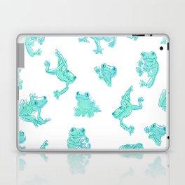 Froggy Frog large white teal Laptop & iPad Skin