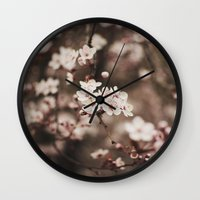 cherry blossom Wall Clocks featuring Cherry Blossom by Evan Dalen