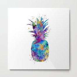 Pineapple Art Fruit Art Gifts Vegan Life Colorful Watercolor Art Food Lovers Gift Metal Print