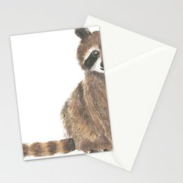 baby raccoon watercolor Stationery Cards