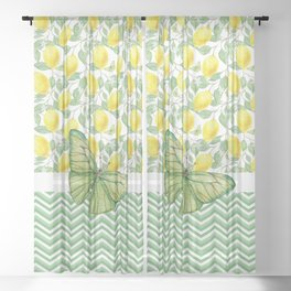 Butterfly And Lemons Sheer Curtain