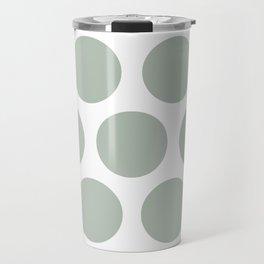 Large Polka Dots: Neutral Green Travel Mug