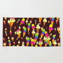 Ice Cream Background Design Beach Towel