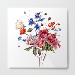 Bouquet BLUE, PINK AND ORANGE - Butterfly - Jersey Beauty Flower Metal Print