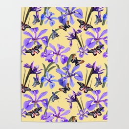 Irises and Butterflies Poster