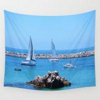 sailing Wall Tapestries featuring Sailing by Jynna Chung