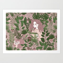 Girl and cat in Hygge Art Print