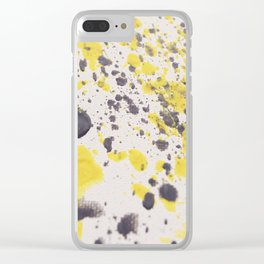 Yellow Grey Classic Abstract Art Clear iPhone Case