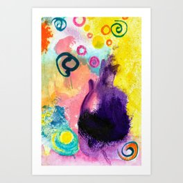Purple Cat abstract painting Art Print