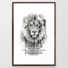 Lion Courage Motivational Quote Watercolor Painting Framed Art Print