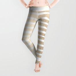 White Gold Sands Shibori Stripes Leggings