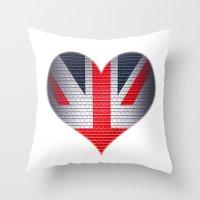 british flag Throw Pillows featuring British Heart by Andy Readman @ AR2 Studio