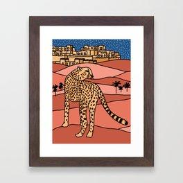 Cheetah in the Desert Framed Art Print