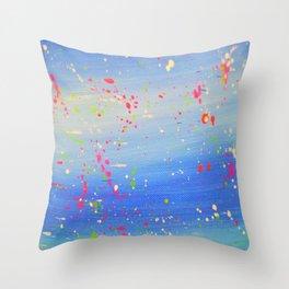 Blue Neon Paint Splatter Throw Pillow