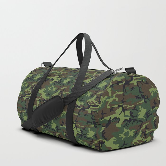 35535d87a U.S. Woodland Camo Duffle Bag by thinlinetextiles | Society6