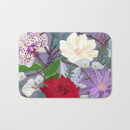 Red Rose, Orchid Red Fruits Vibrant Colorful Pattern Bath Mat