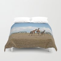 giraffes Duvet Covers featuring Giraffes by wendygray