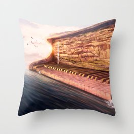 Piano Accord in Sea minor Throw Pillow
