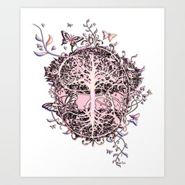 Butterflies and Tree of Life Art Print