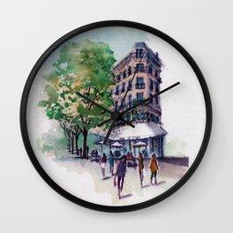 Café On A Corner In Paris Wall Clock