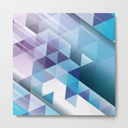 Purple and Blue Mosaic Triangles Diagonal Stripes Metal Print