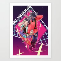 yaoi Art Prints featuring 80s Fashion by kami dog