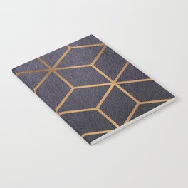 Dark Purple and Gold - Geometric Textured Gradient Cube Design Notebook