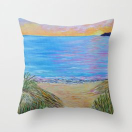Lake Michigan, landscape painting Throw Pillow