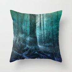 magical forest landscape Throw Pillow
