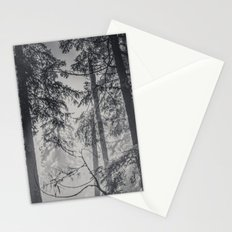 Nature Forest - Black and White Trees in Winter fog snow tree mountain adventure Stationery Cards