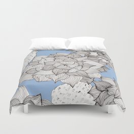 Beautiful echeveria succulent in ink with blue background Duvet Cover